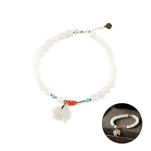 YOYT Unisex Echte Jade Armband Natuurlijke Wit Nefriet Armband 6mm Ronde Kralen