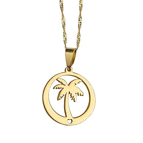 Aluyouqi Co.,ltd Collar con Colgante de árbol de Coco para Mujer, joyería de Isla de Acero Inoxidable Dorado para niñas # 031721P