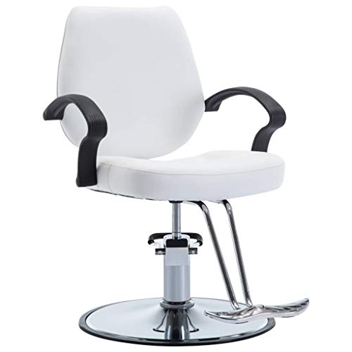 Nishore Silla de Peluquería Sillón Peluquería de Cuero Sintético de Altura Adjustable con un Pedal Reposapiés, Equipada con 1 Pedal Reposapiés (Blanco)