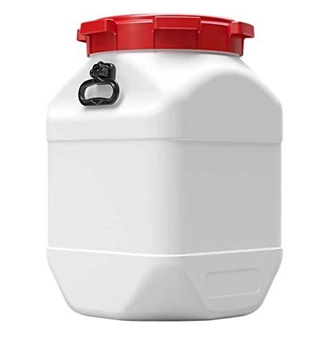 Curtec HDPE Weithalsfass CurTec, mit Griff, quadratisch, stapelbar, mit rotem Schraubdeckel, weiß, wasserdicht (66 Liter)