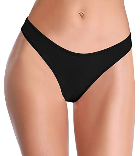 SHEKINI Damen Bandeau Bikini Set Low Waist Badeshorts Badeslip Brazilian Stil Bikinislip Slip Brazilian Kurze Hose Bottom Unterteil Falten Design Rückt Näher(B-Schwarz,S)
