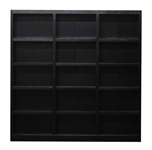 Traditional Wood Triple Wide Bookcase with 15 Shelves in Espresso