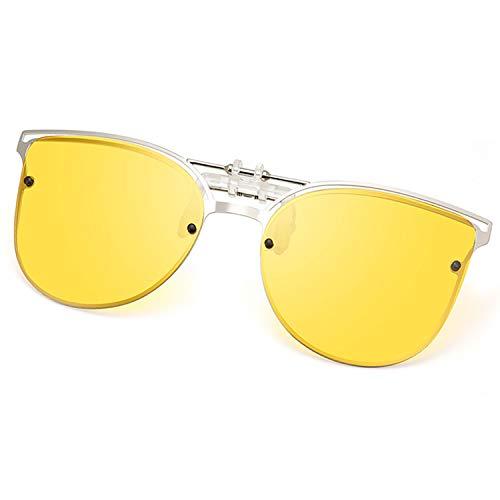 Polarized Clip-on Sunglasses Anti-Glare UV 400 Protection Cateye Sun Glasses Clip On Prescription Glasses (Cateye--Yellow)