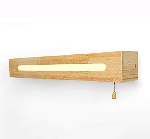 Wandlamp met schakelaar-LED-touw van Scandinavisch hout, spiegel, 45/55 cm [energie-efficiëntieklasse A++]