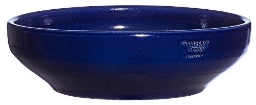 Hentschke Keramik Pflanzschale Grabschale Deko-Schale frostfest Ø 38 x 12 cm, Effekt blau, 039.L38.64 Schale mit Bodenloch
