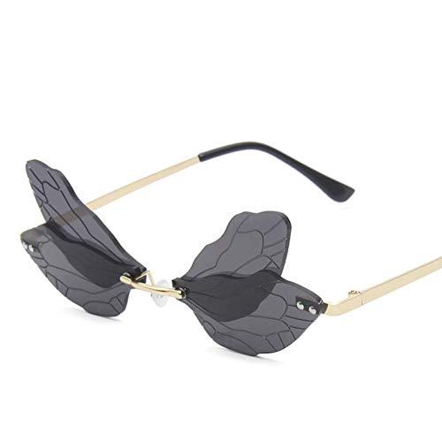 WEIPENG Gafas De Sol De ala De Libélula Sin Montura A La Moda para Mujer, Gafas De Sol Clásicas con Lentes Transparentes para El Océano, Gafas De Sol para Hombre, Sombras Uv400
