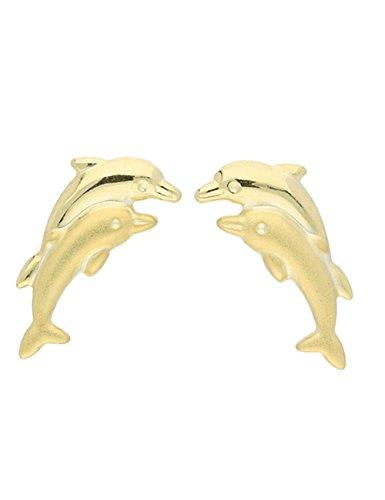 MyGold dolfijn oorstekers oorstekers steker geelgoud 585 goud (14 karaat) zonder steen matte glans 9 mm x 10 mm dolfijn gouden oorbellen dames oorbellen kinderoorbellen geschenken Dolphin Twins V0004009