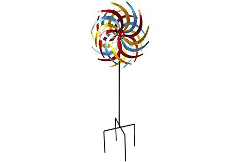 Unbekannt Doppel- Windrad Metall 60 cm Ø Tricolor 2 rot, gelb & Petrol