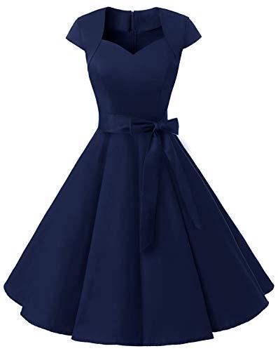 MuaDress 1960 Damen Vintage 50er Rockabilly Retro Kleider Eleganter Faltenrock mit Flügelärmeln Marineblau M