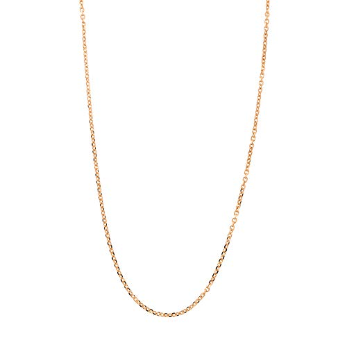 Solid 14k Rose Gold Italian 0.85 Millimeters Diamond Cut Cable Chain Necklace, 16 Inches