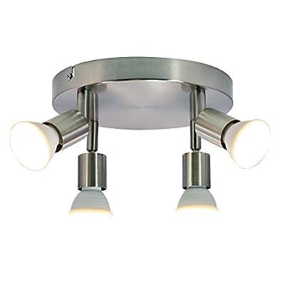 Garwarm Round Track Lighting Fixture, 4-Light Flush Mount Ceiling Spotlight GU10 LED Bulb Multi-Directional Ceiling Light for Kitchen Hallway Dining Room, 3000K Warm White, Polished Chrome