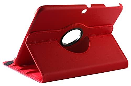 Funda compatible para Galaxy Tab 3 10.1 GT-P5210, 10 P5200 P5220, funda protectora de piel sintética con soporte giratorio 360, rojo