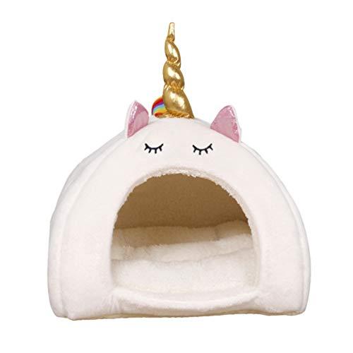 VILLCASE Nido Cálido para Mascotas-Nido de Unicornio Adorable Jaula para Dormir en Invierno Cachorro Hámster Conejo Casa de Peluche Animales Pequeños Cama para Dormir (Blanco Talla M)