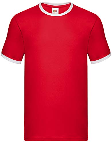 Fruit of the Loom Ringer-T-Shirt SS168 Gr. L, rot / weiß