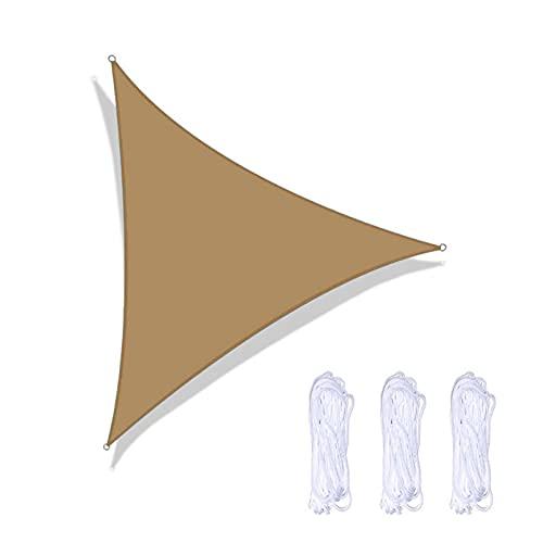 BWGF Velas de Sombra para Patio 2.4x2.4x2.4m, Toldo Triangular Exterior, Toldo Vela de Sombra Jardin Impermeable con Kit de Fijación FáCil de Instalar para Jardín Patio Piscinas