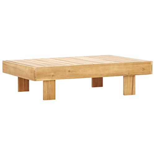 vidaXL Bois d'Acacia Solide Table Basse Table d'Appoint Table de Canapé Table de Salon Jardin Patio Terrasse Arrière-Cour Extérieur 100x60x25 cm