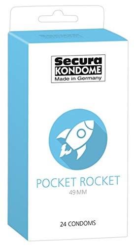 Secura Pocket Rocket 24er Kondome - 24 sehr enge Präservative zur Verhütung für Männer, extra schmale Breite