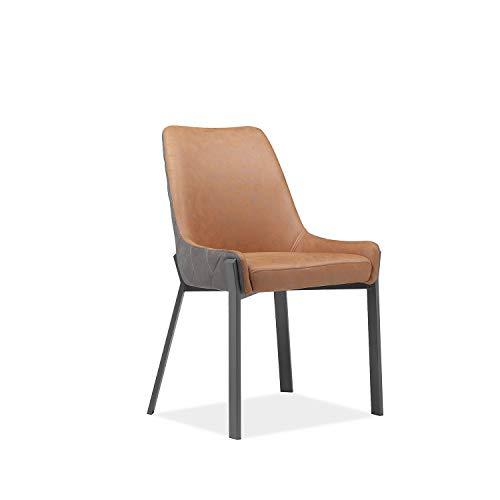 Meubletmoi - Silla marrón y marrón bicolor de piel sintética y patas de metal – Diseño contemp