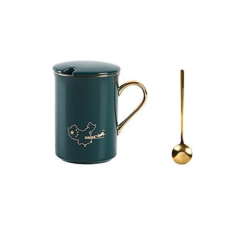 GYZD Taza de té con Cuchara de Acero Inoxidable, cerámica Taza Suelta Taza Tazas de té para Oficina y hogar, 14.2oz (6 Colores),A
