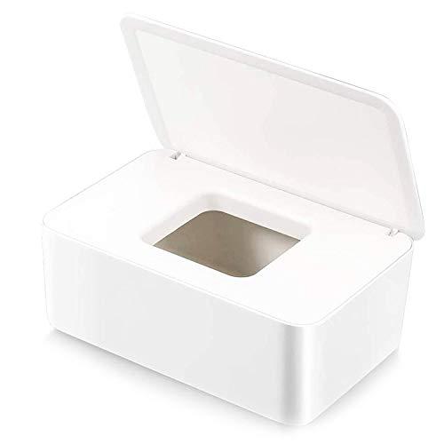 WELLXUNK® Feuchttücher-Box, Tissue Aufbewahrungskoffer, HomeTissue Boxen, Baby Feuchttücherbox, Serviettenbox Mit Deckel, Feuchttücher Spender, Toilettenpapier Box, Für Zuhause, Büro (Weiß)