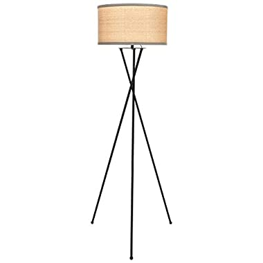 Brightech Jaxon Tripod LED Floor Lamp – Mid Century Modern Living Room Standing Light – Tall Contemporary Drum Shade Uplight and Downlight for Bedroom or Office – Black