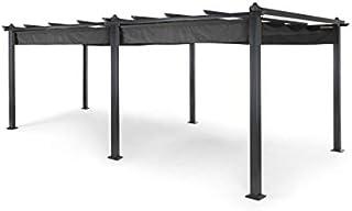blumfeldt Pantheon Grey Edition - Kit pergola Complet, Tubes d'aluminium carrés : 10 x 10 cm et de 1,2 mm d'épaisseur, Surface Couverte :3 x 6m, revêtement pulvérisé, vis Noires galvanisées, Gris