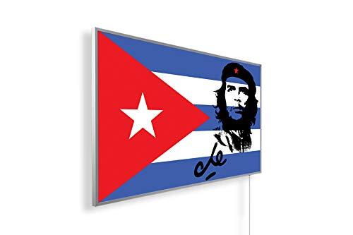 Könighaus Fern Infrarotheizung - Bildheizung in HD Qualität mit TÜV/GS - 200+ Bilder – mit Thermostat 7 Tage Programm - 600 Watt (146. Che Guevara mit Cuba Flagge)