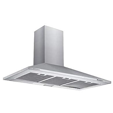 Foto di CIARRA CBCS9201 Cappa Aspirante 90 cm 380 m³/h Cappa da Cucina,in acciaio INOX, 3 gradini,filtro in alluminio, tubo di scarico (Argento)