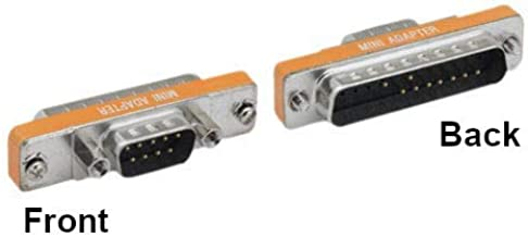 KENTEK Mini DB9 DB25 Male to Male M/M Serial at Modem Mini Adapter Gender Changer Coupler RS-232 PC Peripherals