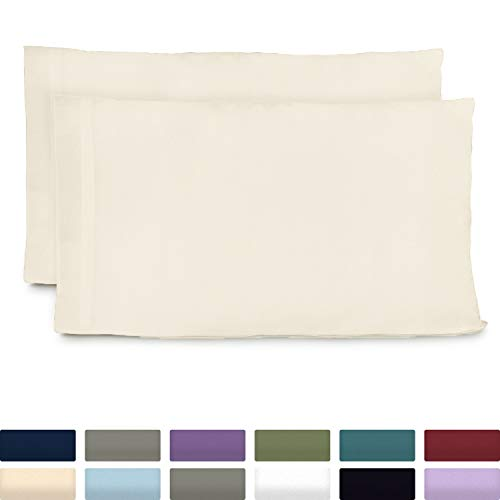 Cosy House Collection Luxury Bamboo Standard Size Pillowcases - Cream Pillowcase Set of 2 - Ultra Soft & Cool Hypoallergenic Natural Bamboo Blend Cover - Resists Stains, Wrinkles, Dust Mites