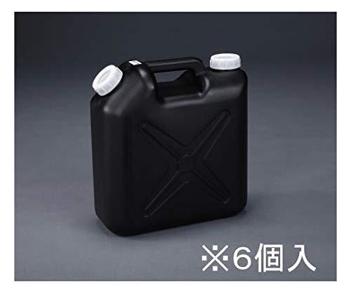 エスコ 10L ポリタンク(黒) (ポリエチレン製/ノズル無/6個 EA508AT-310B