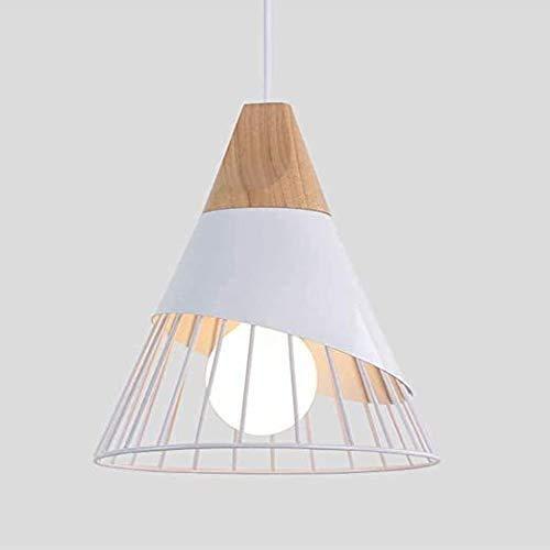 Xindaxin Lustre LED Moderne Simple Cuisine Salon Couloir Suspension Luminaire Créatif Forme de Cône Fer Cage E27 La Longueur est 25CM Haut est 30CM(Blanc)