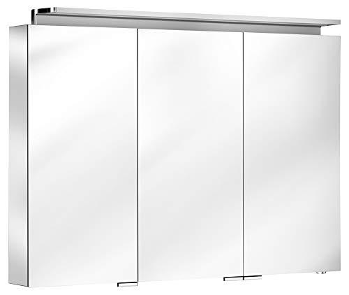 Keuco Spiegel-Schrank mit Variabler LED-Beleuchtung dimmbar, inkl. Wandbeleuchtung, verspiegelter Korpus, mit 3 Türen, 100x74,2x15 cm Royal L1