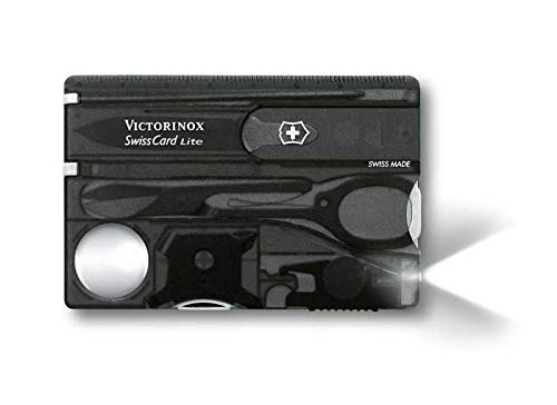 Bester der welt Victorinox Swiss Card Light Taschenmesser (13 Funktionen, LED-Licht, Mushimegane) Schwarz Transparent