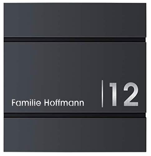 Frabox® Design Briefkasten LENS anthrazitgrau RAL 7016 mit Zeitungsfach Hausnummer und Namen