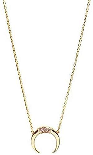 UAGXFC Collar Largo de Media Luna Collar Delicado y Transparente para Mujer Collar con Colgante de Luna