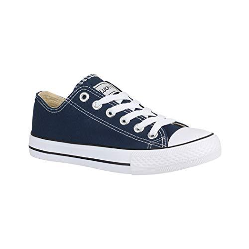 Elara Unisex Sneaker  Sportschuhe fur Herren und Damen  Low top Turnschuh Textil Schuhe Grosse 38, Farbe Blau