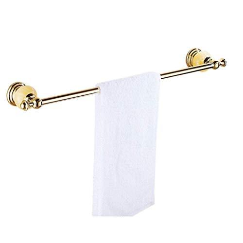 DXX-HR Toallero de barra individual de almacenamiento dorado con colgante de perforación, baño, inodoro, balcón, 61 x 9 cm