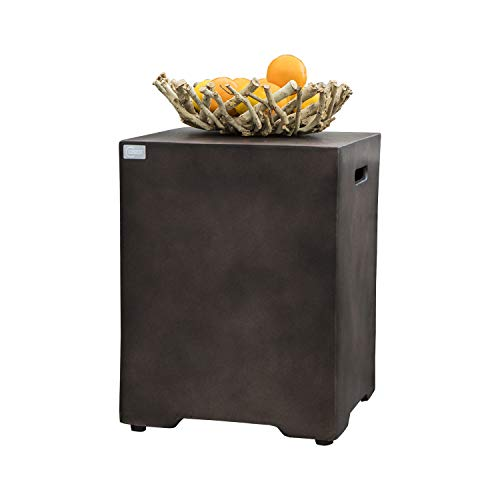 COSIEST Outdoor Hideaway Tank Table for Gas Fire Pits, Hides Standard 20 Gallon 16-inch Propane Tank Cover, Concrete Bronze Finish, Side Handles