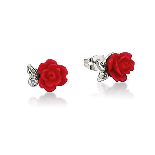 Pendientes de la rosa roja encantada de La Bella y la Bestia de Disney, de oro blanco
