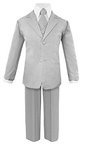 Luca Gabriel Toddler Boys' 5 Piece Classic Fit No Tail Formal Silver Dress Suit Set with Tie and Vest - Size 2T