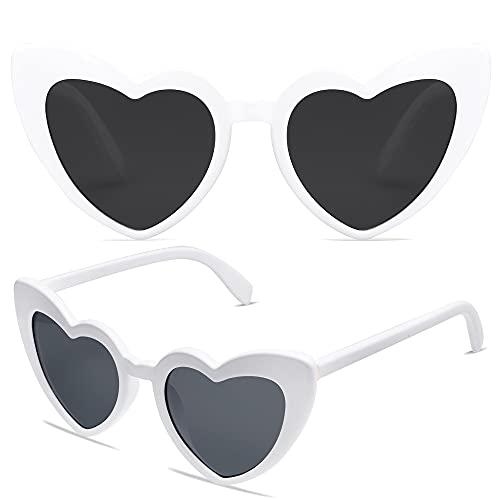 VANLINKER Heart Shaped Sunglasses Big Frame Clout Goggle Retro Cute Cat Eye Mod Style Kurt Cobain...