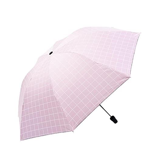 Suelos literarios simples del sol paraguas Anti-UV anti-skit de los hombres tres veces paraguas-Rosa_25 cm