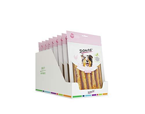 DOKAS Snack Premium sin Cereales con pezuña de Pollo para Perros, Ideal para entretejo, 8 Unidades (8 x 220 g)