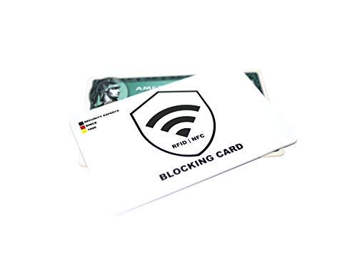 Blocker Karte (2 Stück, RFID, NFC, weiß, Kunststoff, 1,2mm dünn) Störsender – schützt die gesamte Geldbörse vor Datendiebstahl – für Kreditkarten, EC-Karte
