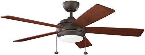 """Kichler 330174OZ, Starkk LED Olde Bronze 52"""" Ceiling Fan with Light"""