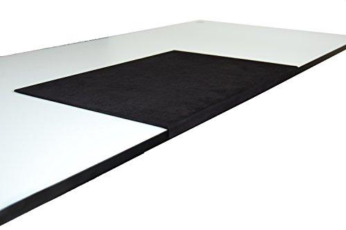 Luxentury bureau-onderlegger/onderlegger 580 x 390 mm microvezel/imitatie suède met randbescherming gehoekt / 90° gebogen zwart voor USM Haller Tafel