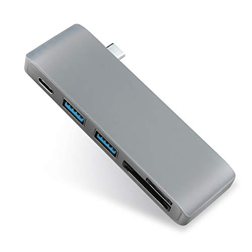 QXJTX 5 en 1 USB-C Adaptador con 2 Puertos USB 3.0 Micro SD de Memoria Lector de Tipo C Hub USB 3.0 (Color : Grey)