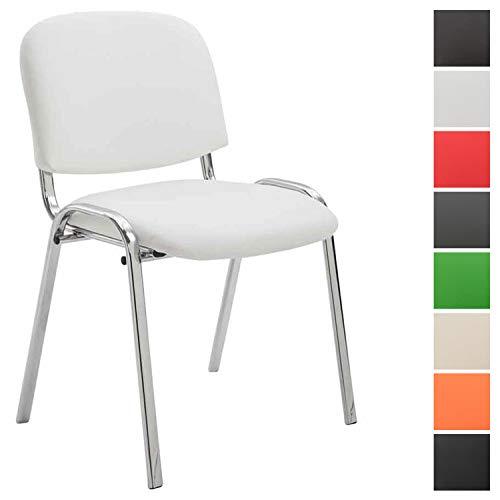 Konferenzstuhl Ken Chrom mit hochwertiger Polsterung und Kunstlederbezug I Stapelstuhl mit robustem Metallgestell in Chromoptik, Farbe:weiß