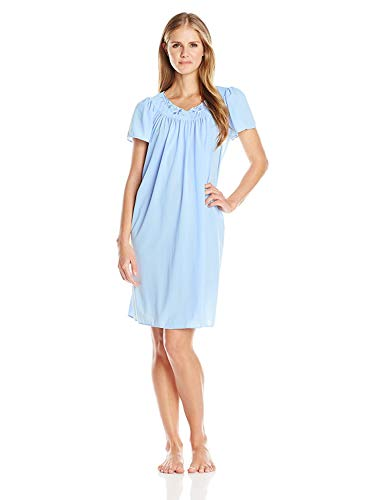 Miss Elaine Women's Tricot Short Flutter Sleeve Nightgown, Bluebell, Large